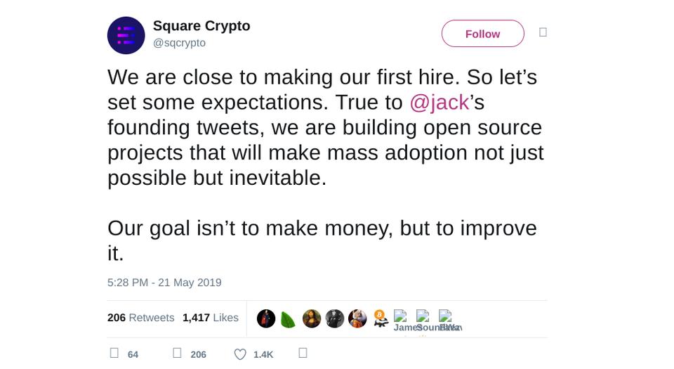 Twitter CEO除了每周定投1万美元比特币,更多加密资产也将融入其支付业务Square