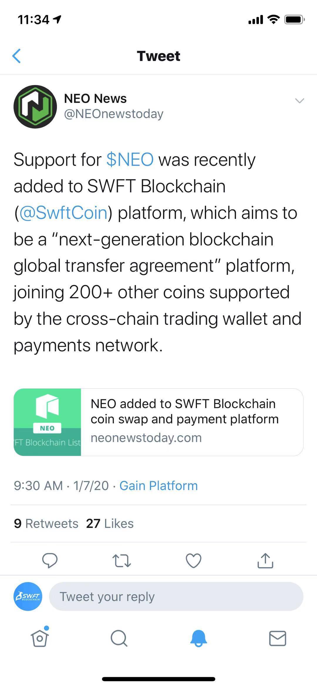 neo-NEO 在 NEO News 和 Twitter 为 SWFT 打Call