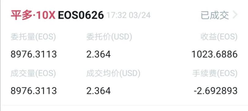 eos-王团长区块链日记864篇:昨天的多单赚了1000个eos